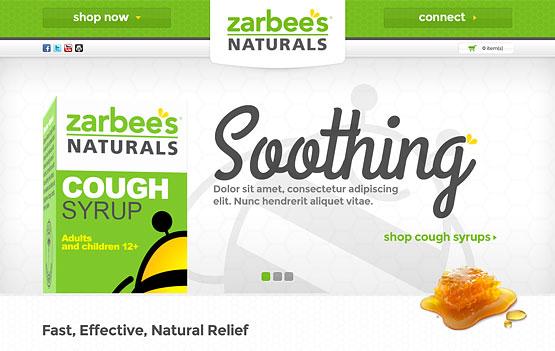 Zarbee's Naturals website design